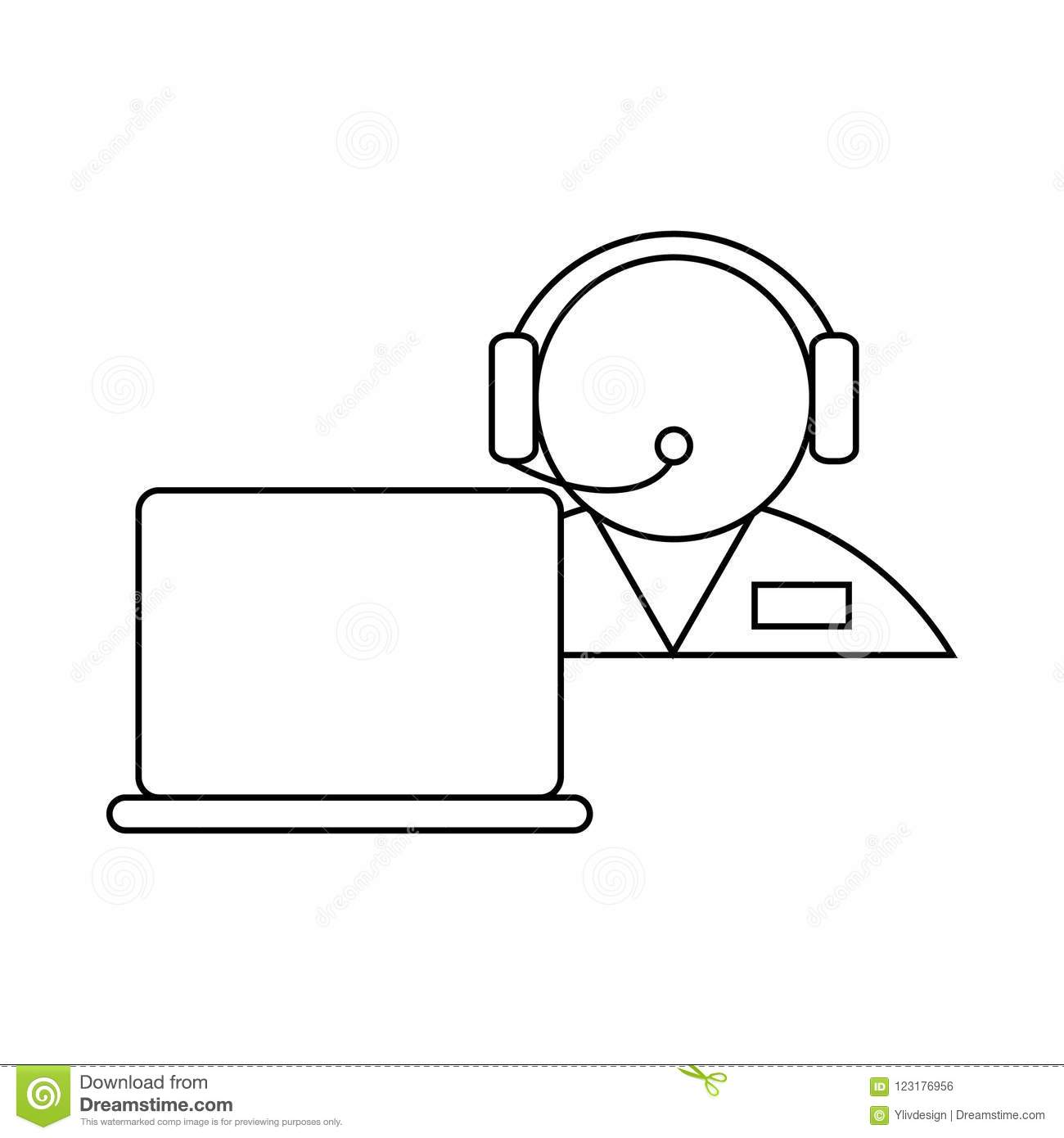 hight resolution of operator in a headset with laptop icon