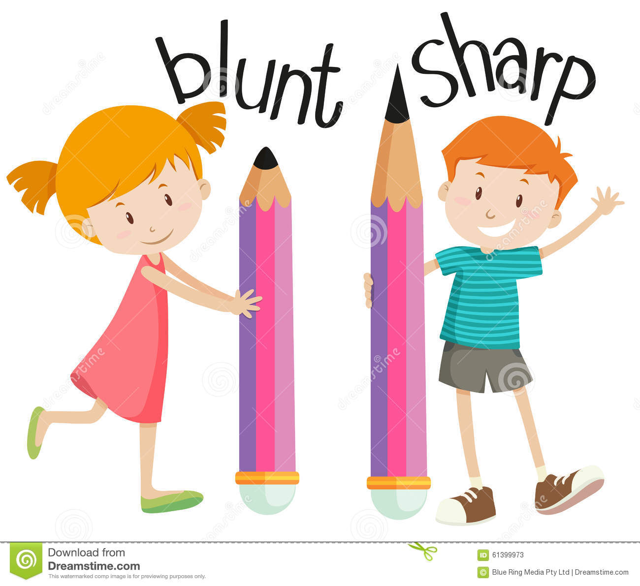 Opposite Adjectives With Blunt And Sharp Stock Vector