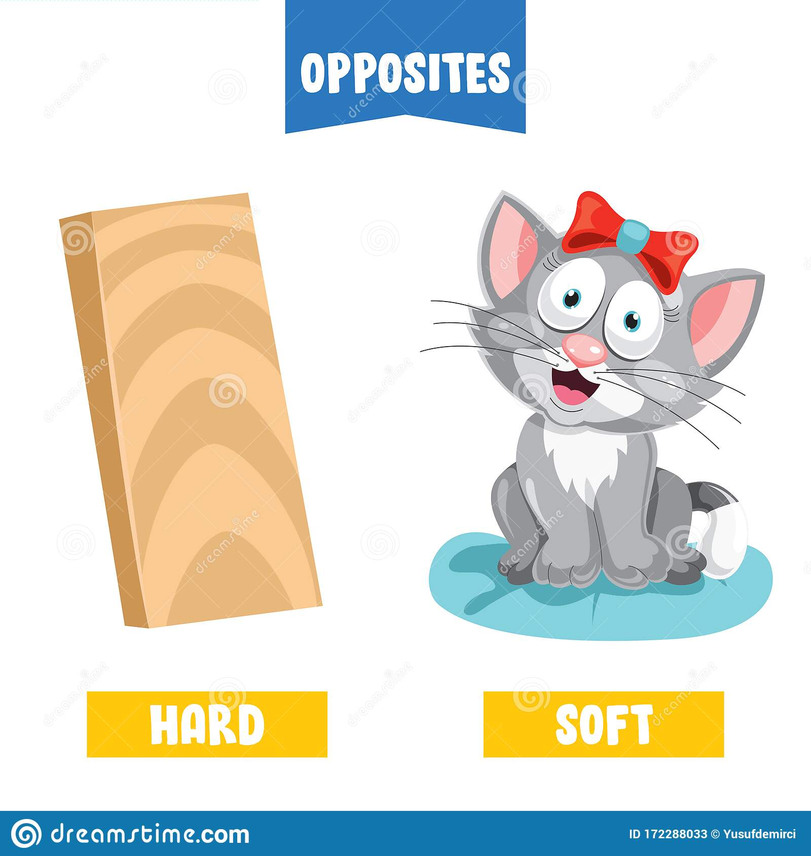 Opposite Adjectives Soft And Hard Vector Illustration
