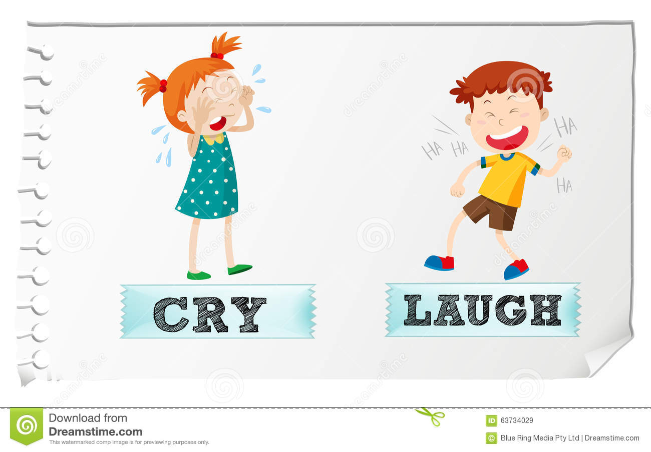 Opposite Adjectives Cry And Laugh Stock Vector