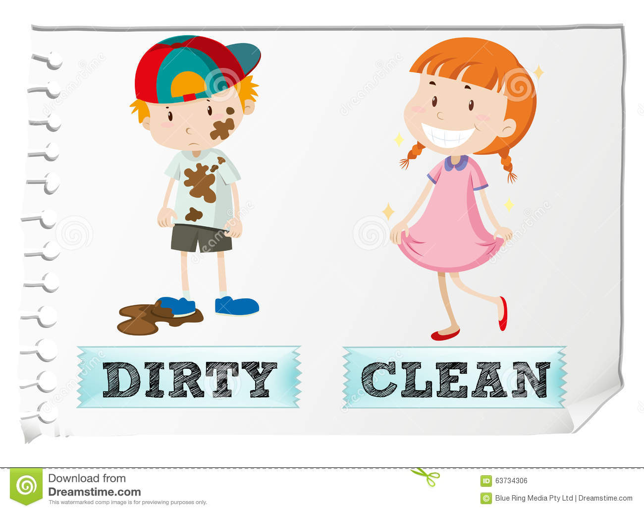 Opposite Adjectives Dirty And Clean Stock Vector