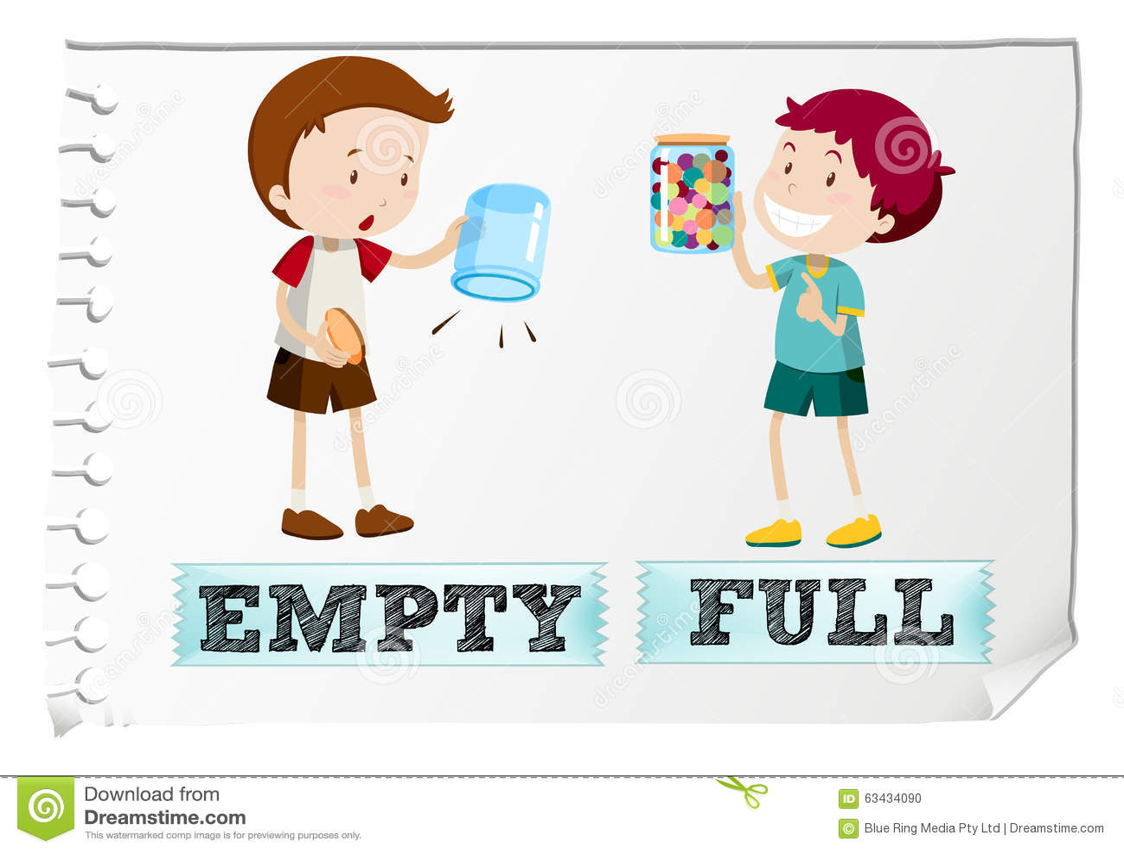 Opposite Adjective Full And Empty Cartoon Vector