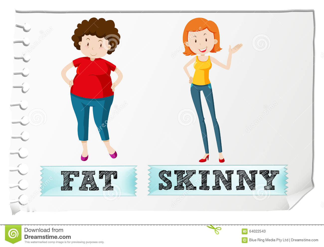 Opposite Adjectives Fat And Skinny Stock Vector