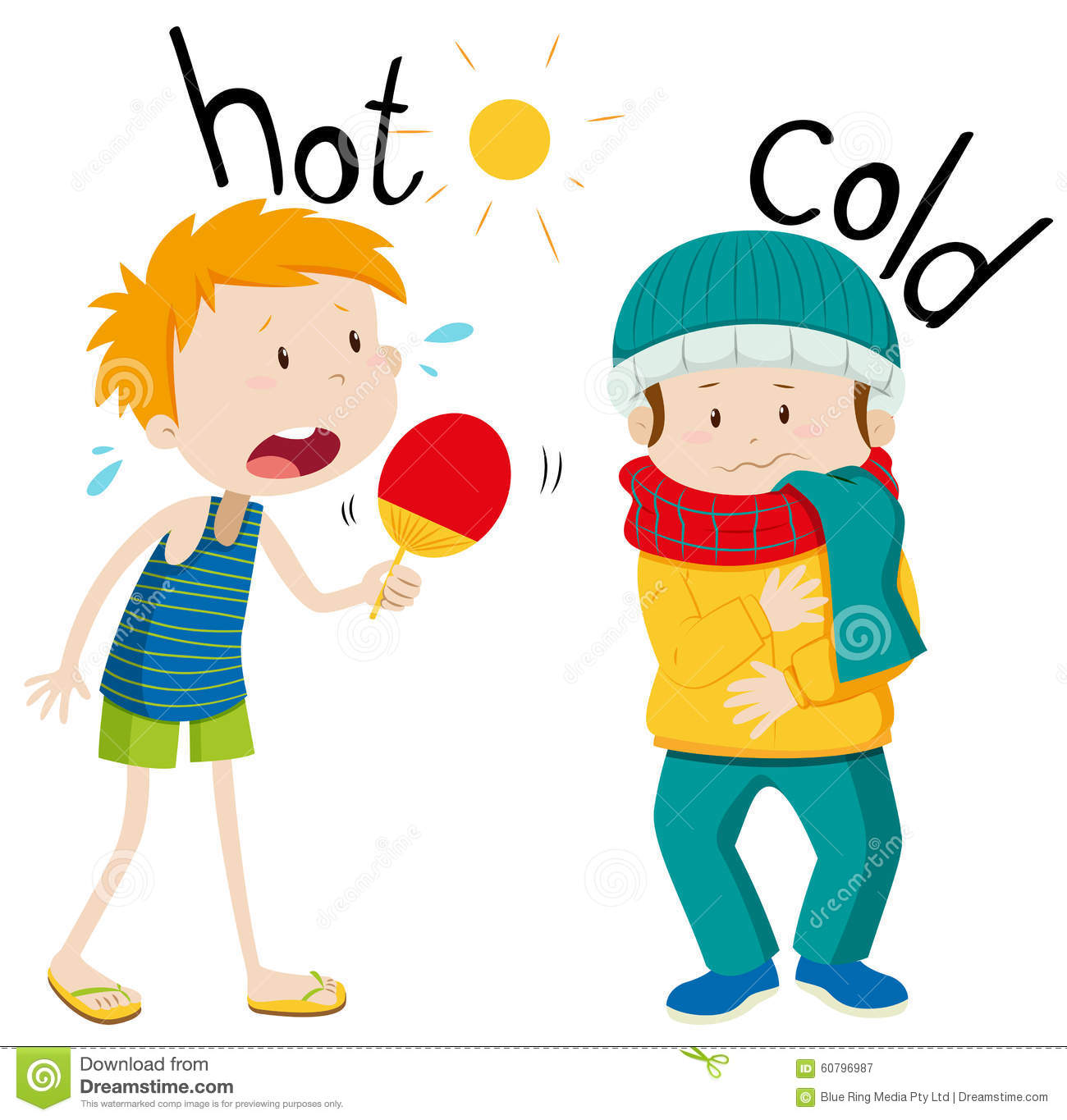 Opposite Adjectives Hot And Cold Stock Vector
