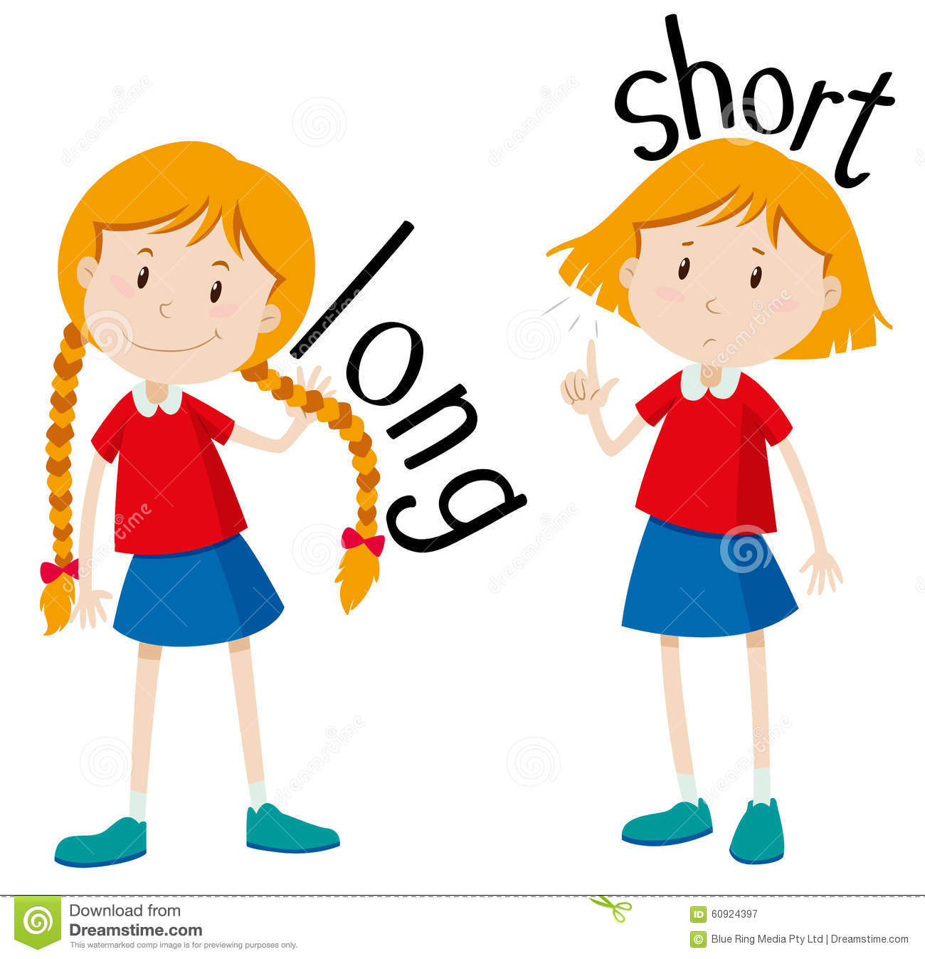 Opposite Adjectives Long And Short Stock Vector