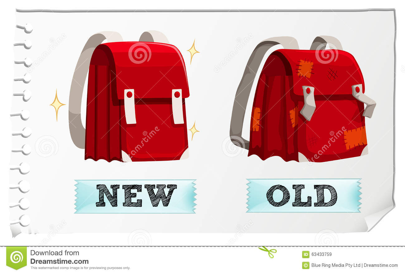 Opposite Adjectives New And Old Stock Vector