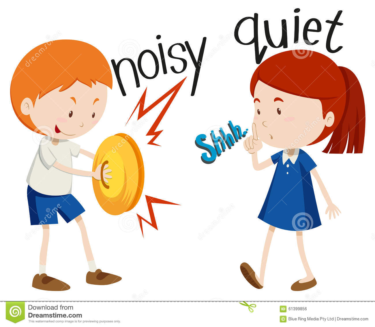 Opposite Adjectives Noisy And Quiet Stock Vector