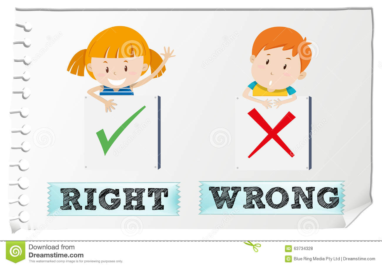 Opposite Adjectives Right And Wrong Stock Vector