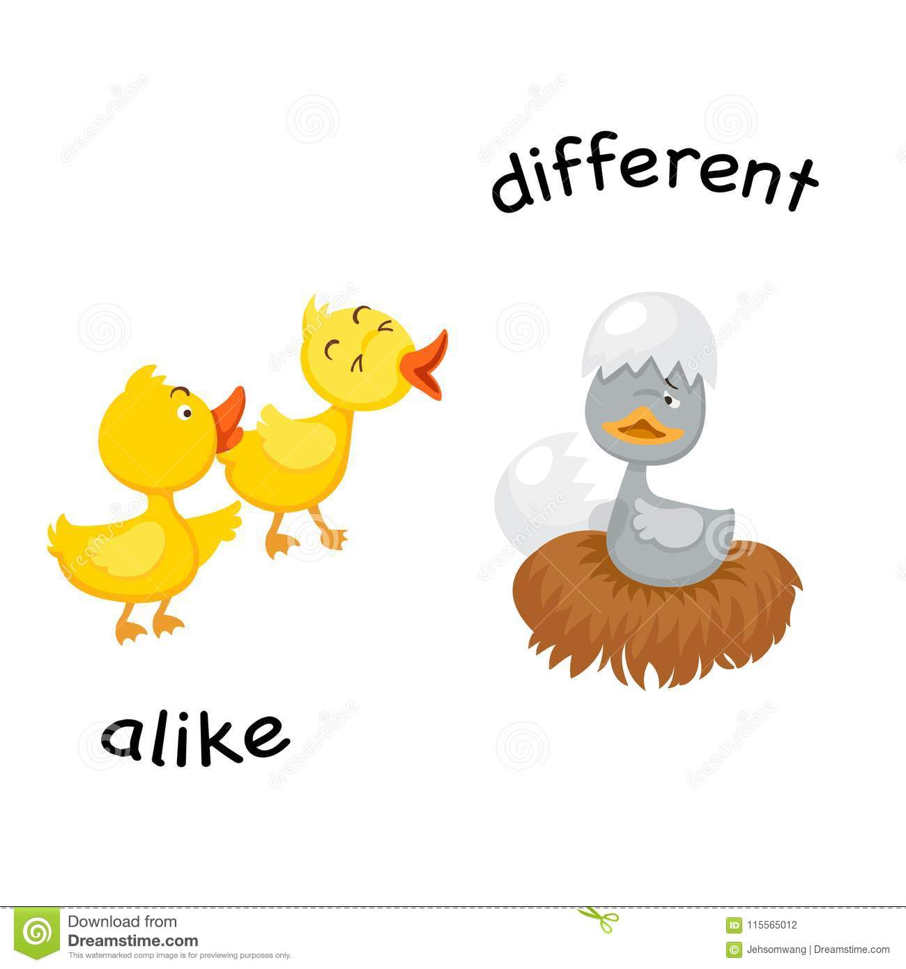 Opposite Alike And Different Stock Vector