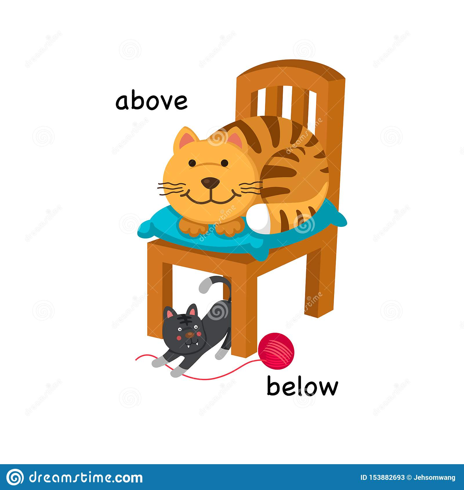 Opposite Below And Above Stock Vector Illustration Of