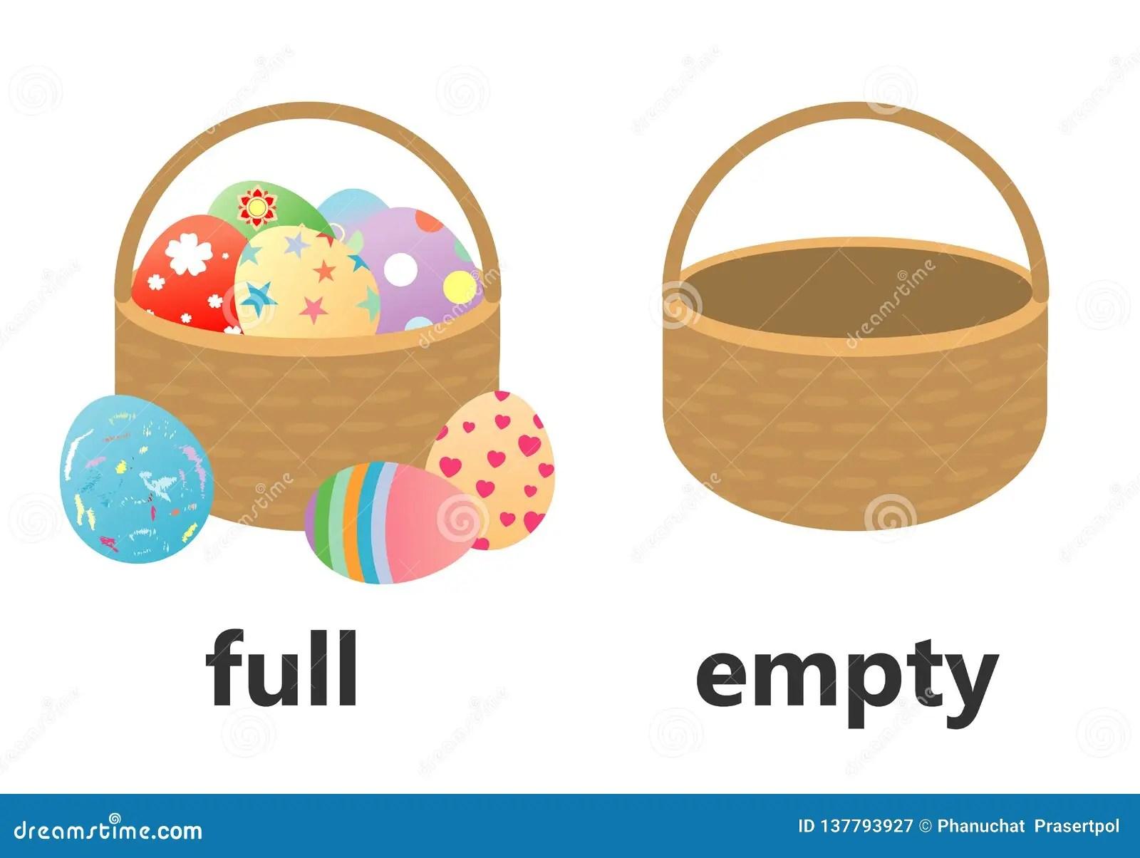 Opposite Full And Empty Vector Illustration Opposite