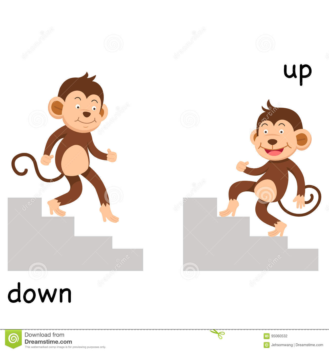 Opposite Up And Down Illustration Stock Vector