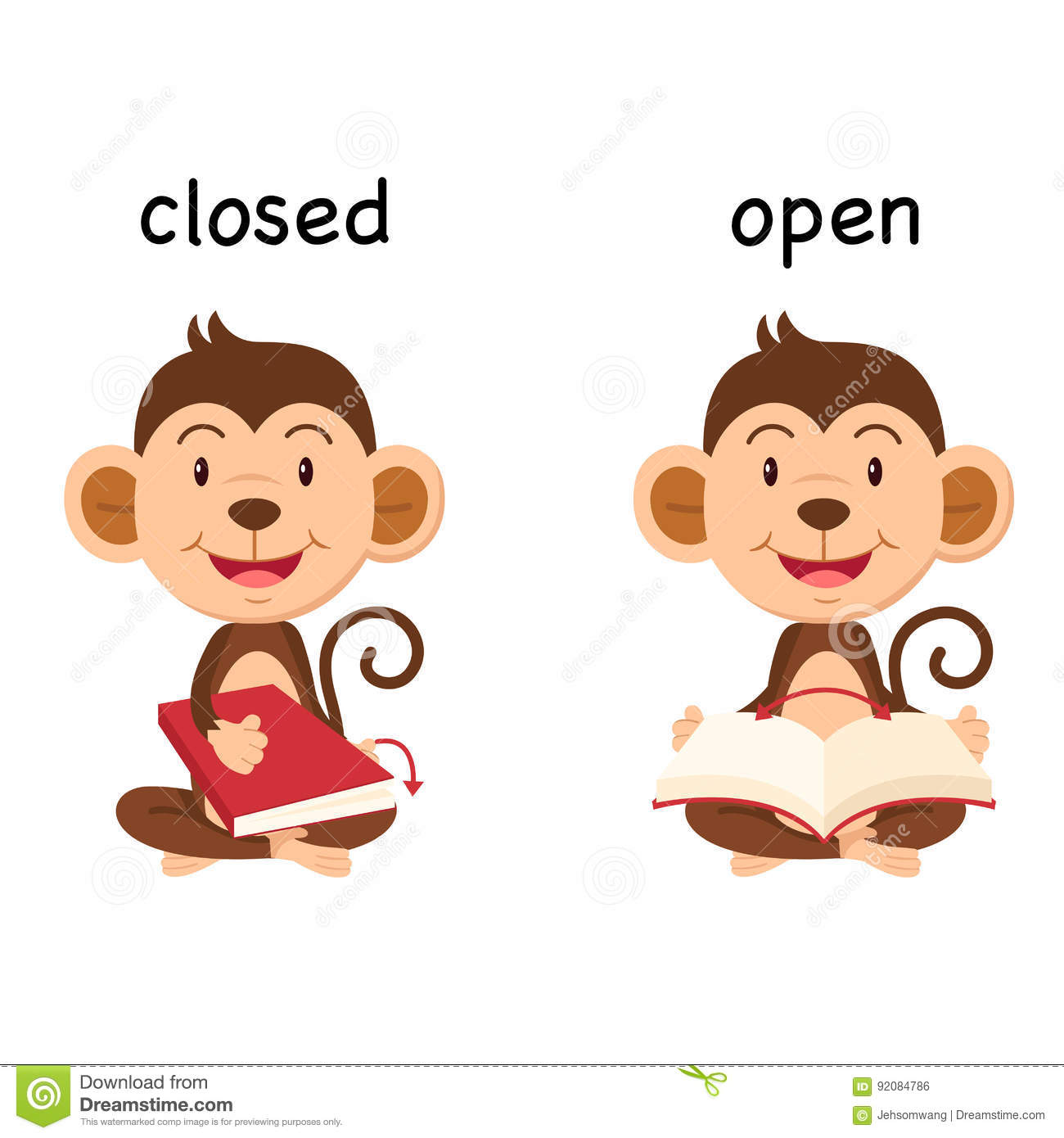 Opposite Words Closed And Open Vector Stock Vector