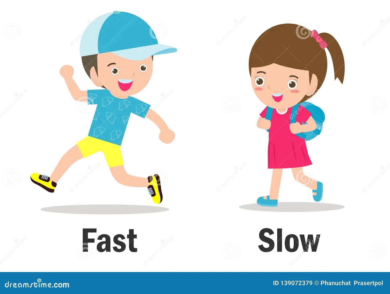 Opposite Words Fast And Slow Vector Illustration Opposite