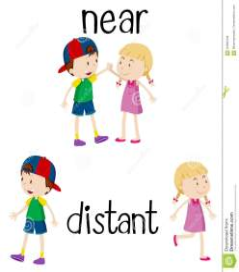 near opposite words distant cartoons