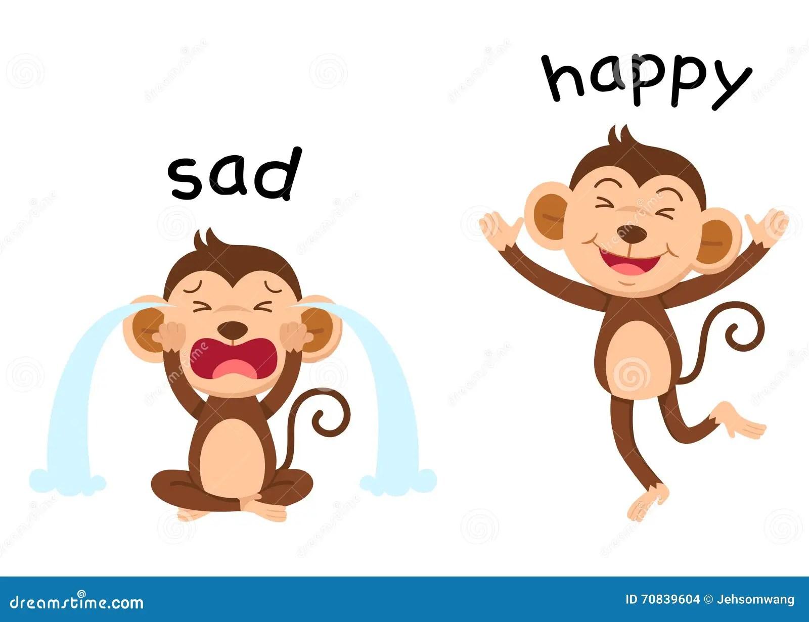 Opposite Words Sad And Happy Vector Stock Vector