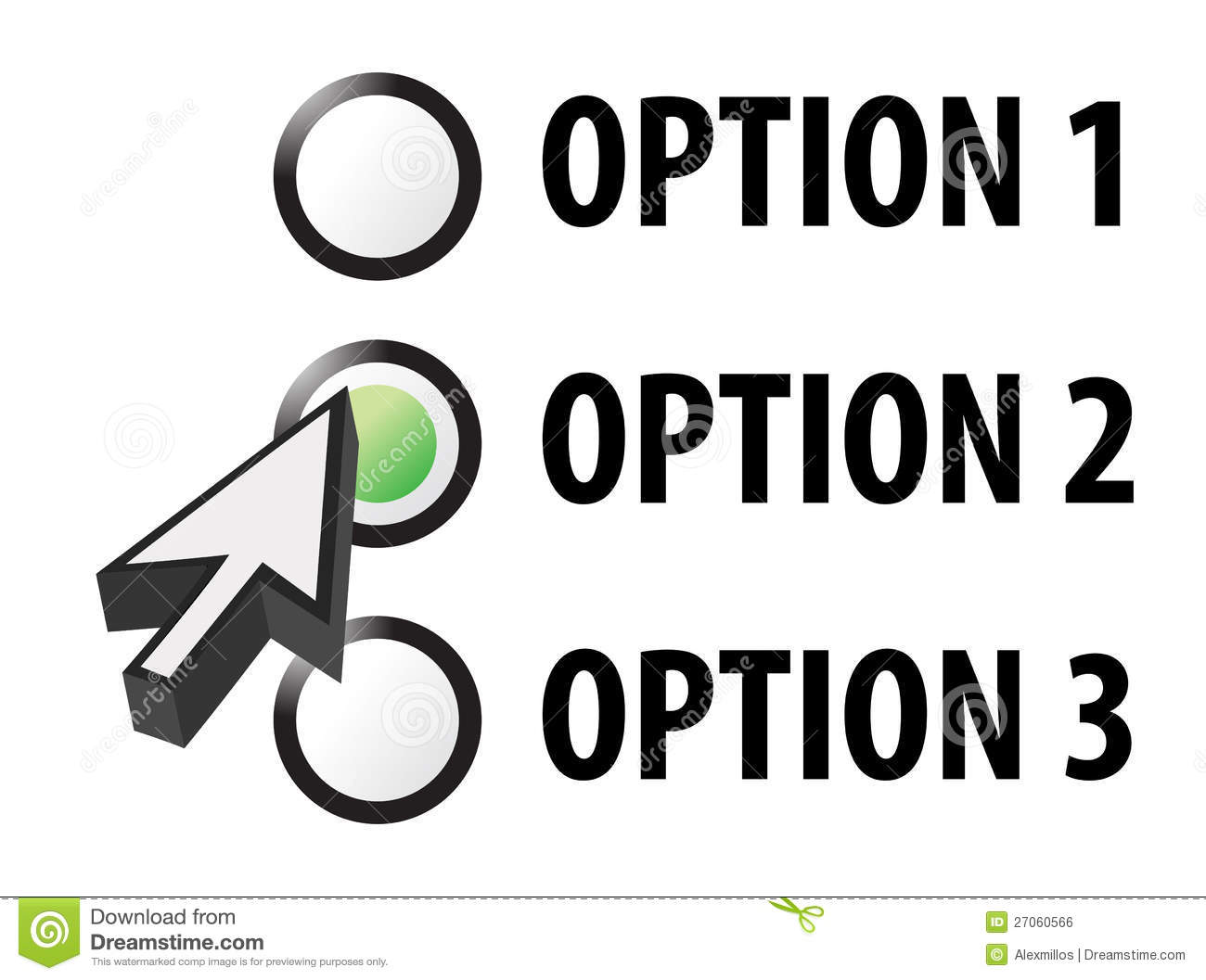 Option 1 2 Or 3 Selection Illustration Royalty Free Stock