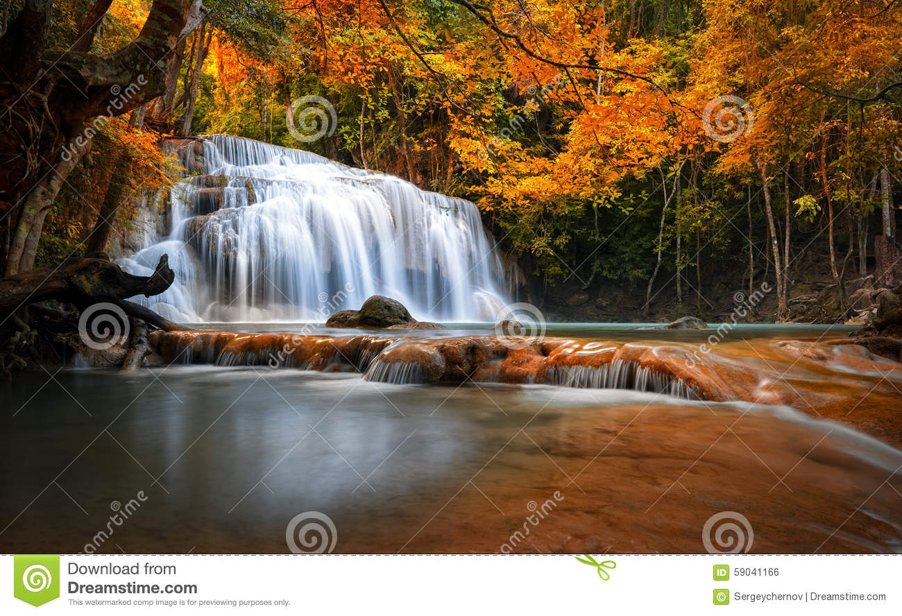 Fall Mountain Scenery Wallpaper Orange Autumn Leaves On Trees In Forest And Mountain River