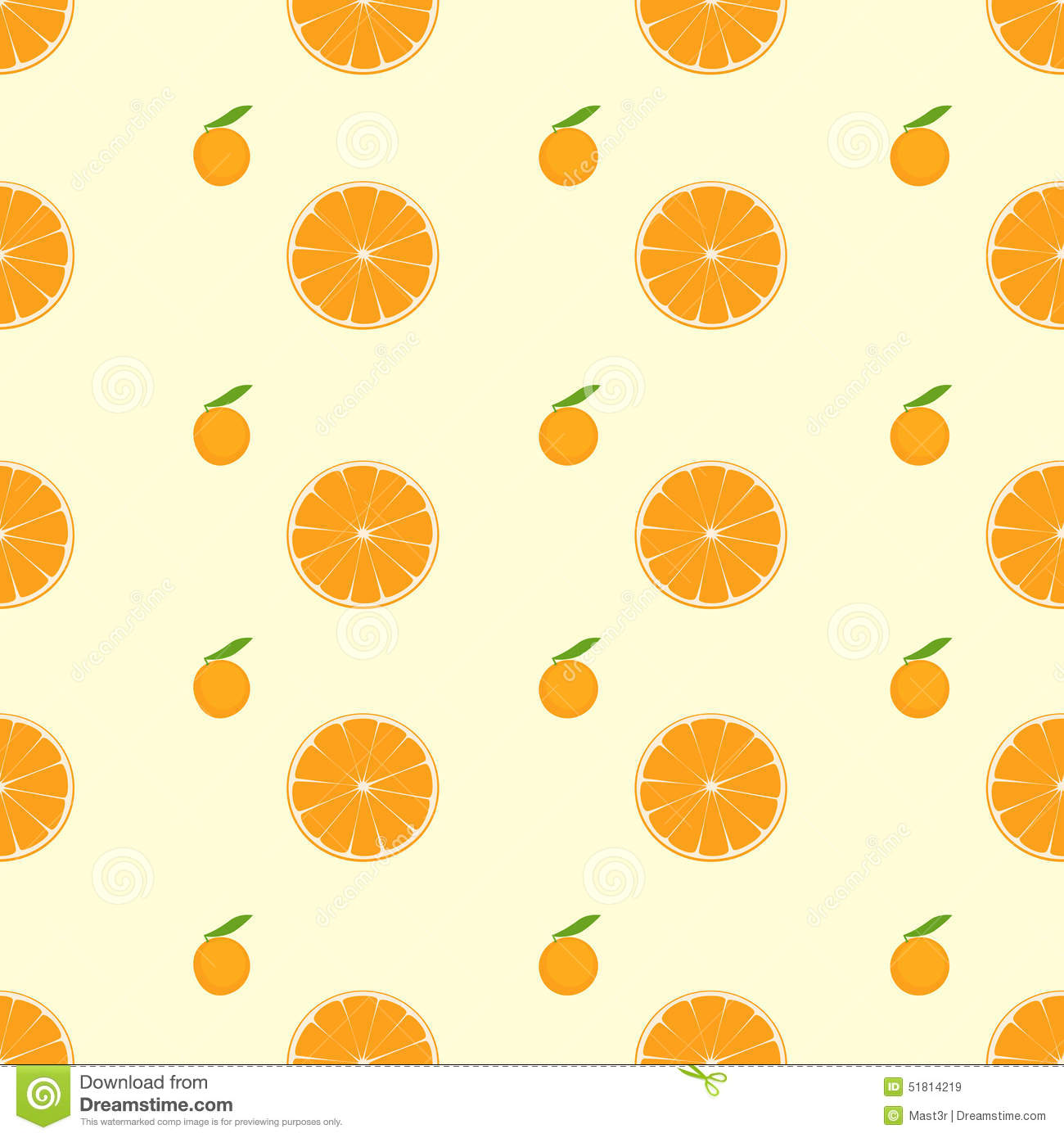 Cute Cartoon Fruit Wallpaper Orange Citrus Fruit Slice Seamless Pattern Vector Stock