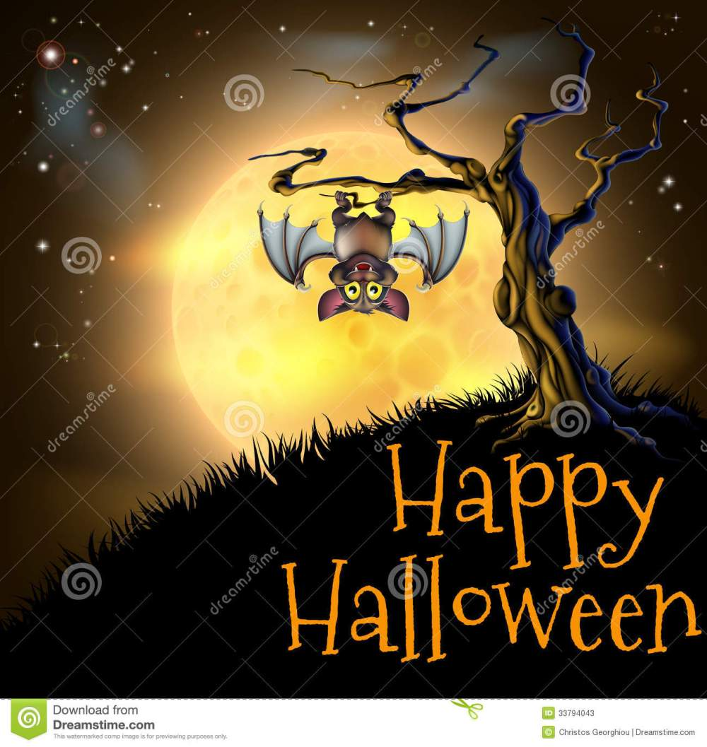 medium resolution of a spooky scary orange halloween background scene with vampire bat hanging from a spooky tree with a full moon in the background