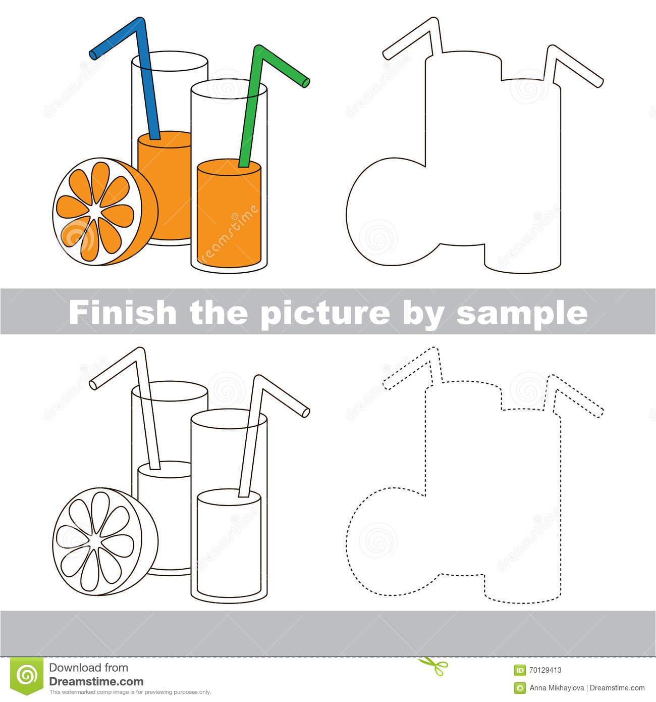 Orange Juice Drawing Worksheet Stock Vector