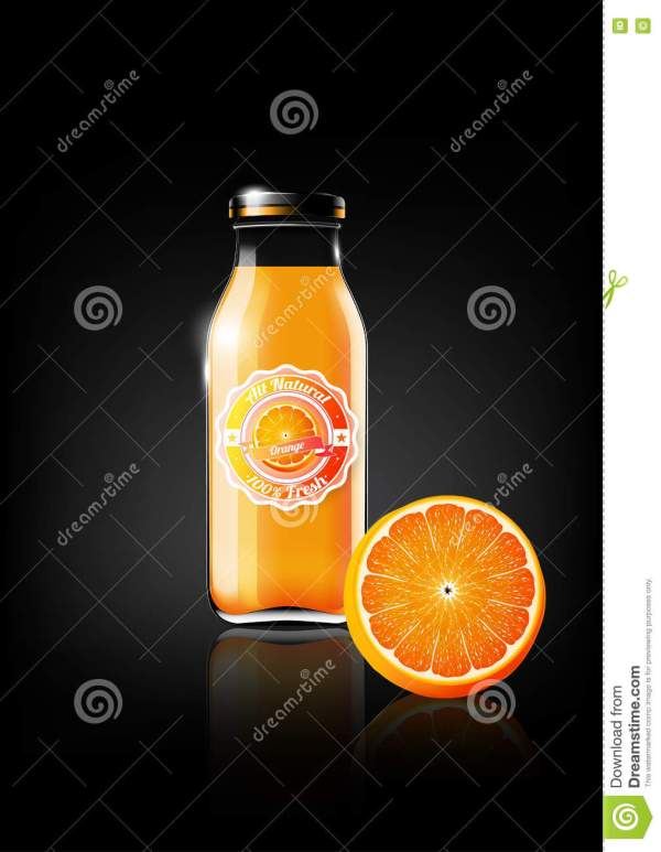 Orange Juice In Glass Bottle Design Advertisement