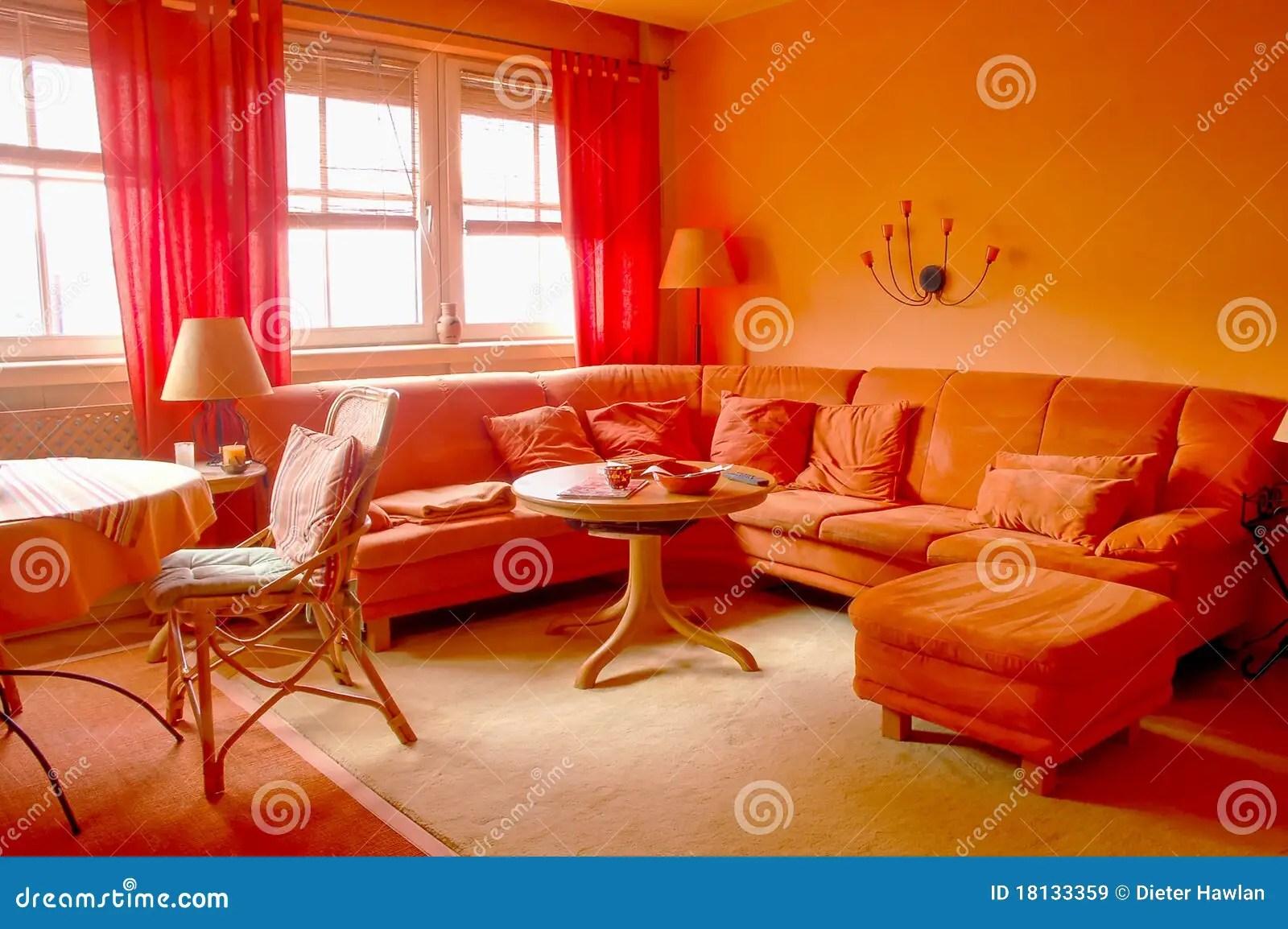 Oranje Woonkamer stock afbeelding Afbeelding bestaande