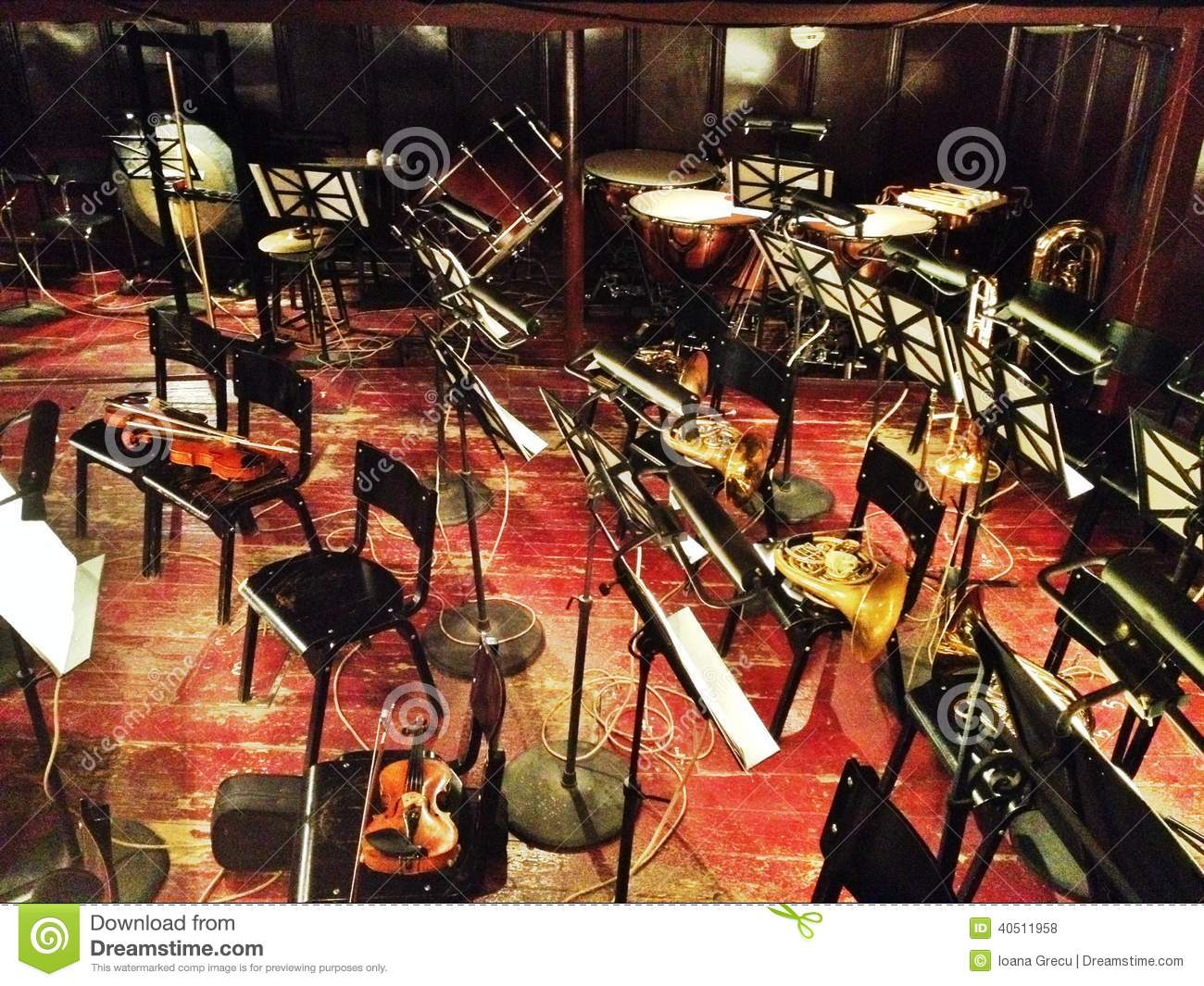 Orchestra instruments stock photo Image of empty