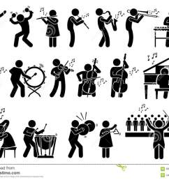 orchestra symphony musicians with musical instruments clipart [ 1300 x 1019 Pixel ]