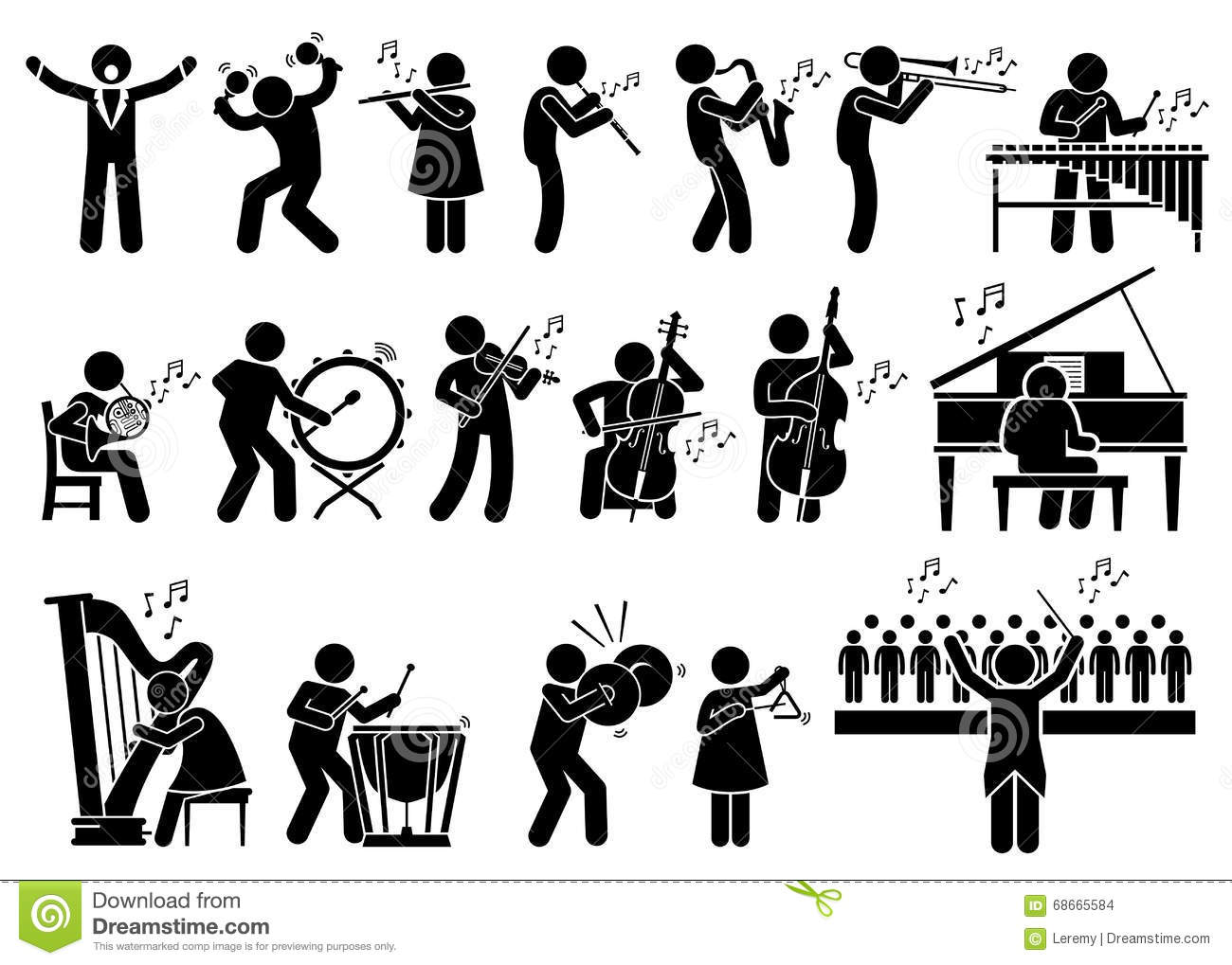 hight resolution of orchestra symphony musicians with musical instruments clipart