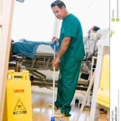 Kitchen Floor Cleaner French Country Island An Orderly Mopping The In A Hospital Ward Stock ...