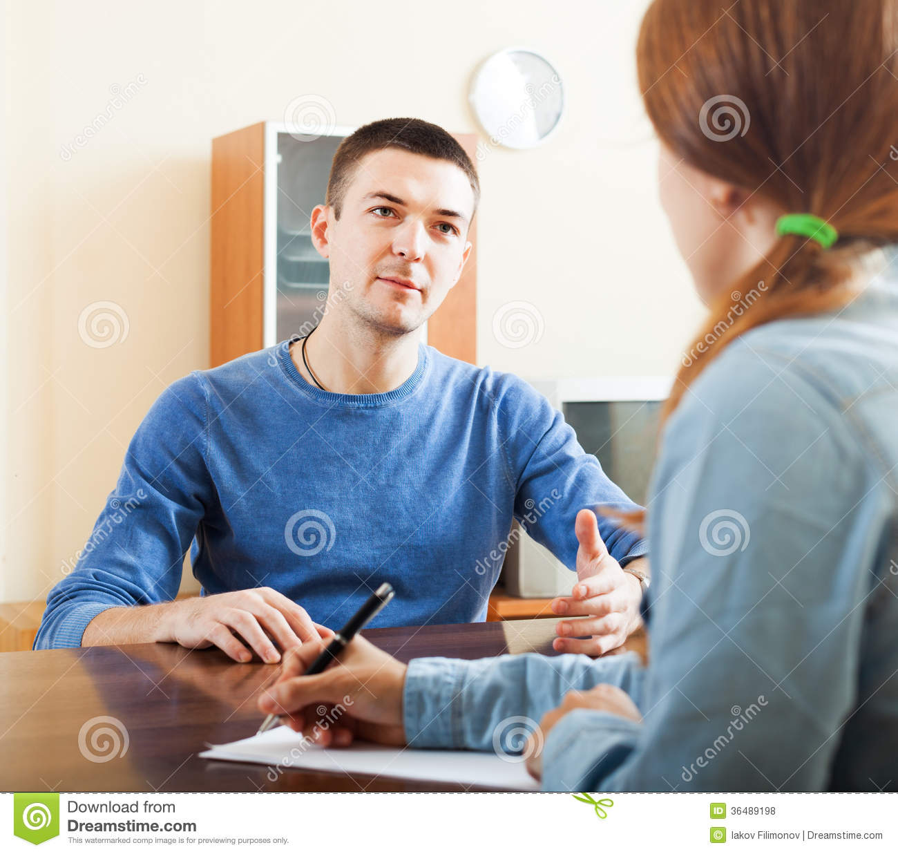 Ordinary Man Questionnaire For Worker Stock Photo