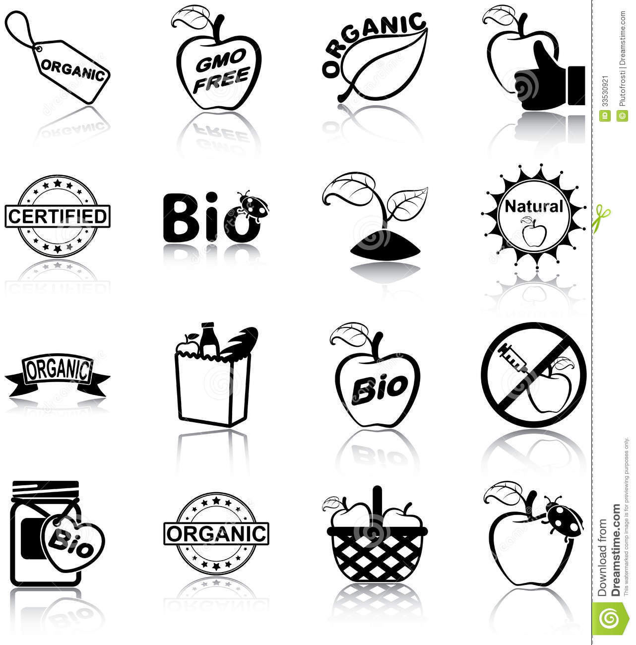 Organic food icons stock vector. Illustration of