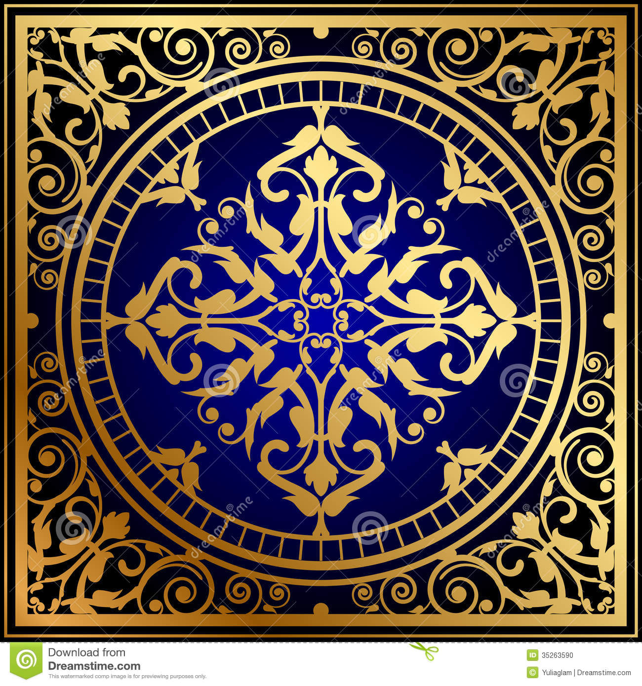 Oriental Blue Gold Rug Stock Vector Illustration Of
