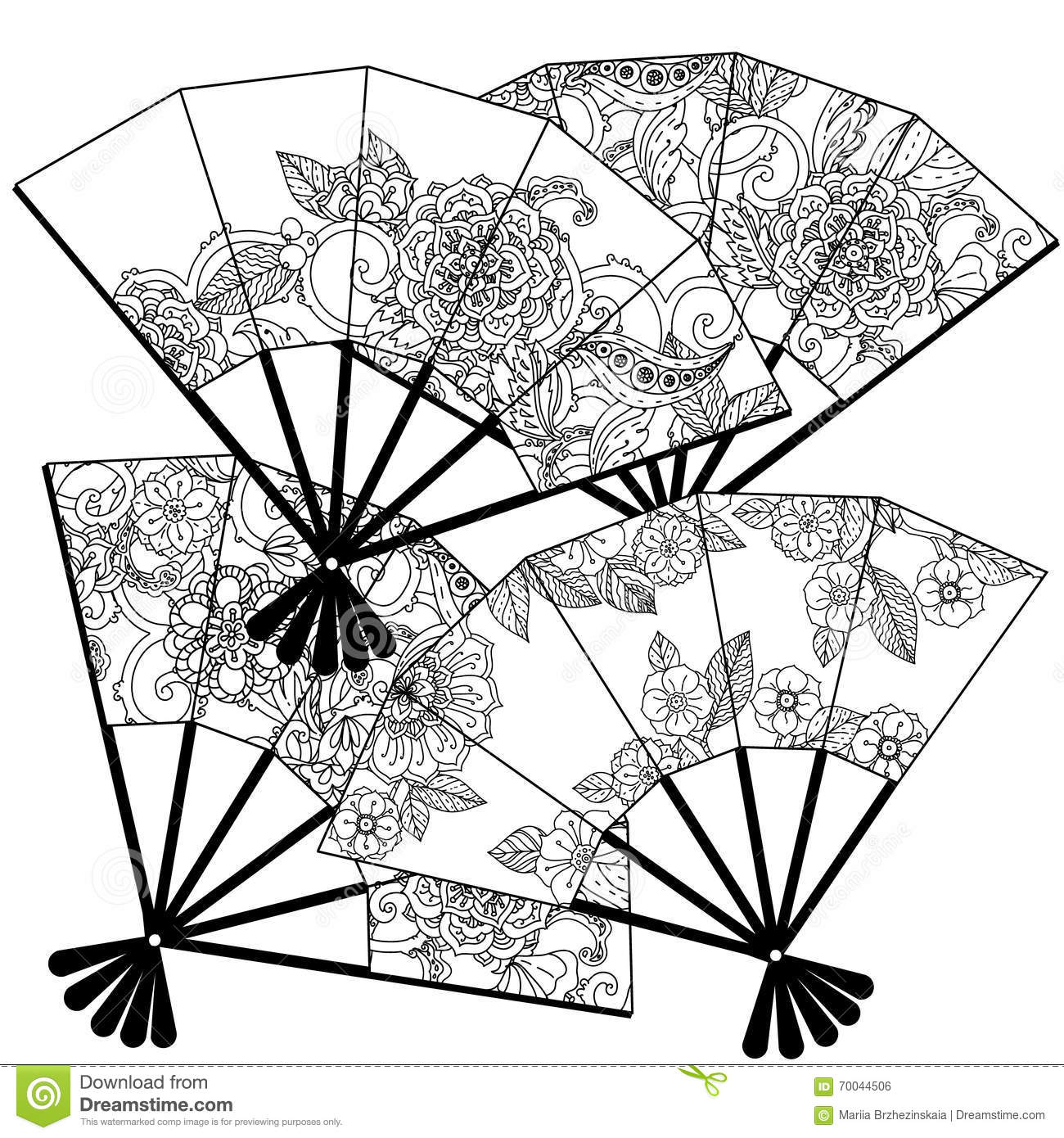 Chinese Fans Coloring Pages 6 Coloring Pages
