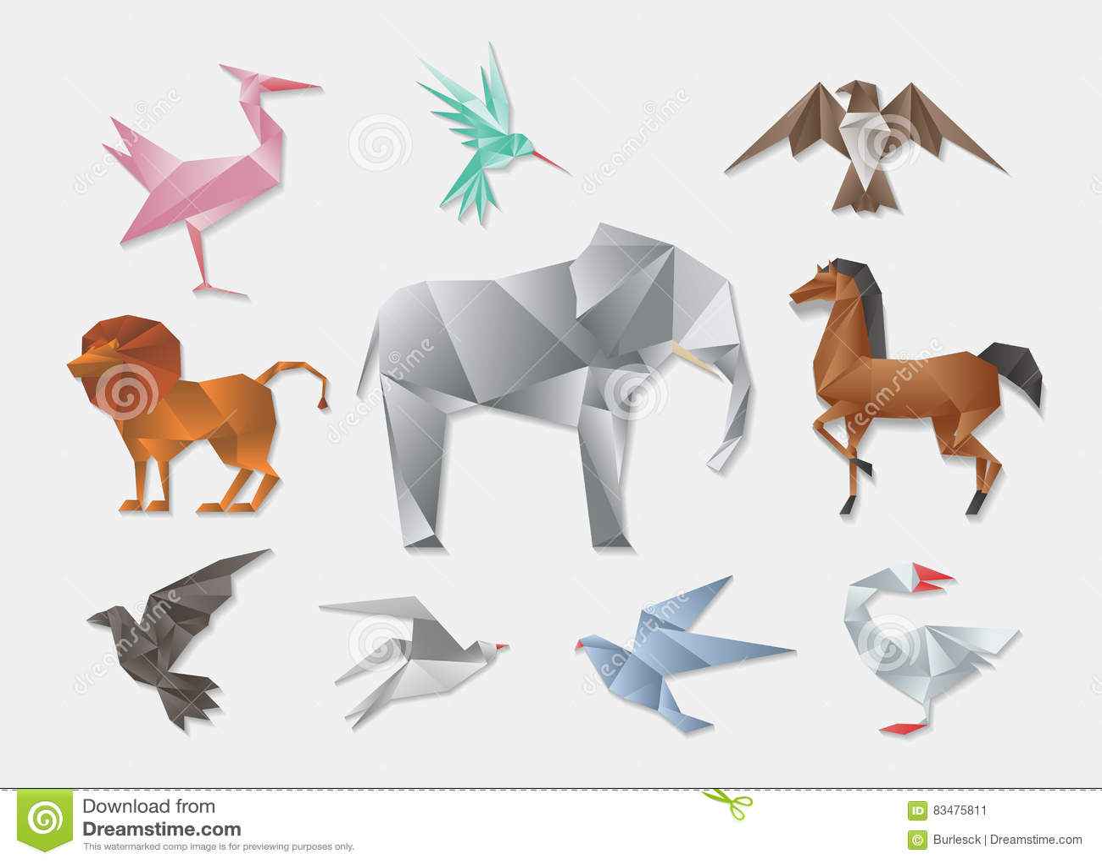 3d origami diagram animals chevy steering column wiring horse design royalty free stock photo cartoondealer