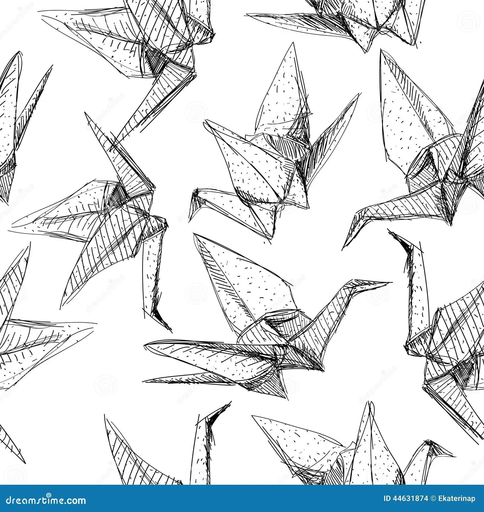 Origami Paper Cranes Set Sketch Seamless Pattern Black
