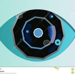 Diagram Of Artificial Eye 1999 Ford Ranger Xlt Radio Wiring Octagonal In The Celeste Background Stock An Original 3d Rendering With Blue Pupil Black And Grey Iris Dark Retina Located Center