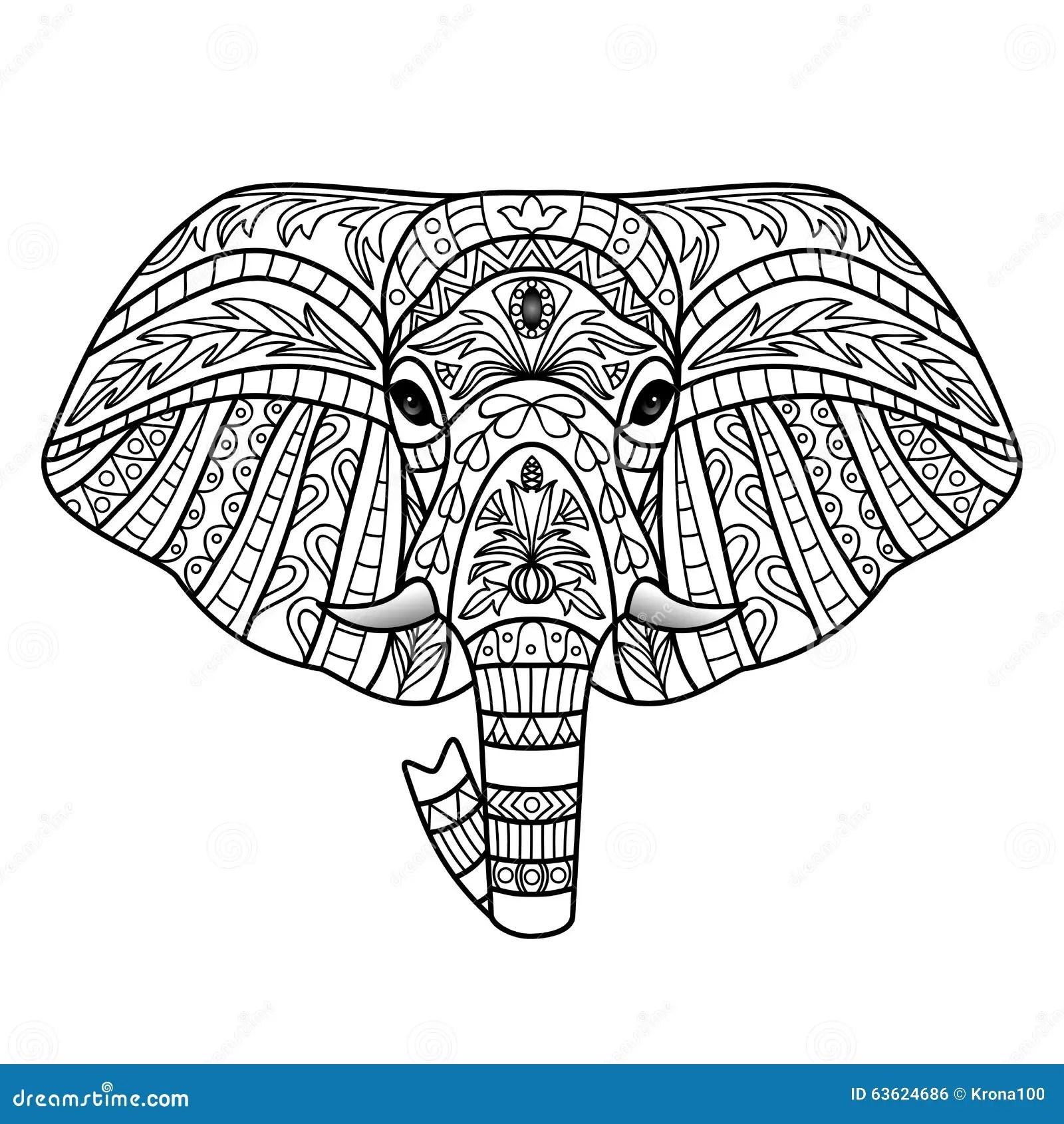 Ornamental White Elephant stock vector. Image of elegance
