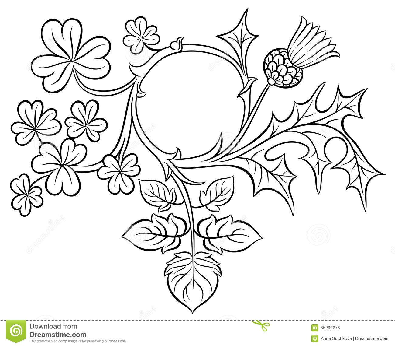 Ornate Frame Clover And Thistle Stock Vector