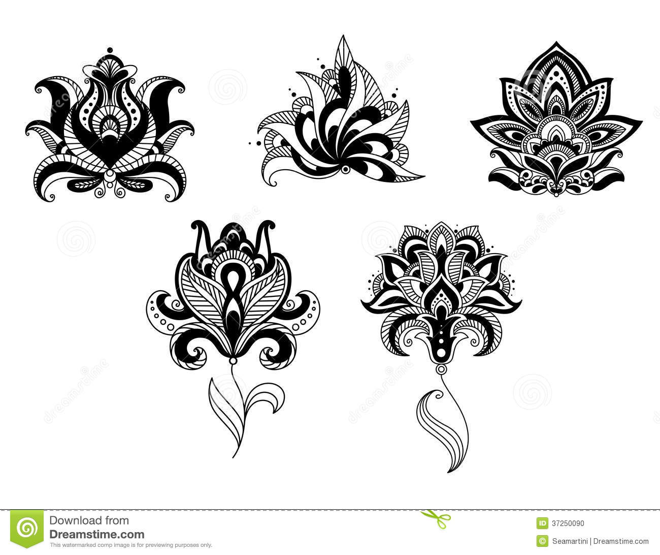Ornate Indian And Persian Floral Design Set Stock Photo