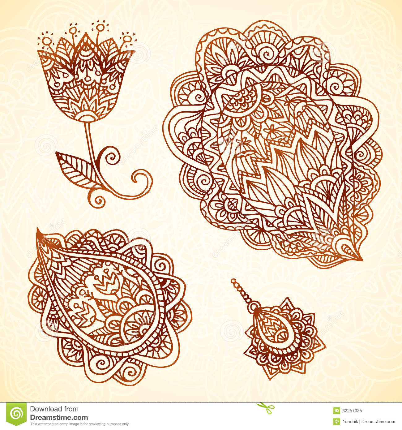 Ornate Vintage Vector Elements In Indian Style Royalty