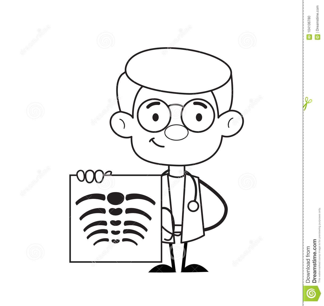 Orthopedic Doctor Showing X Ray Report Vector Stock Vector