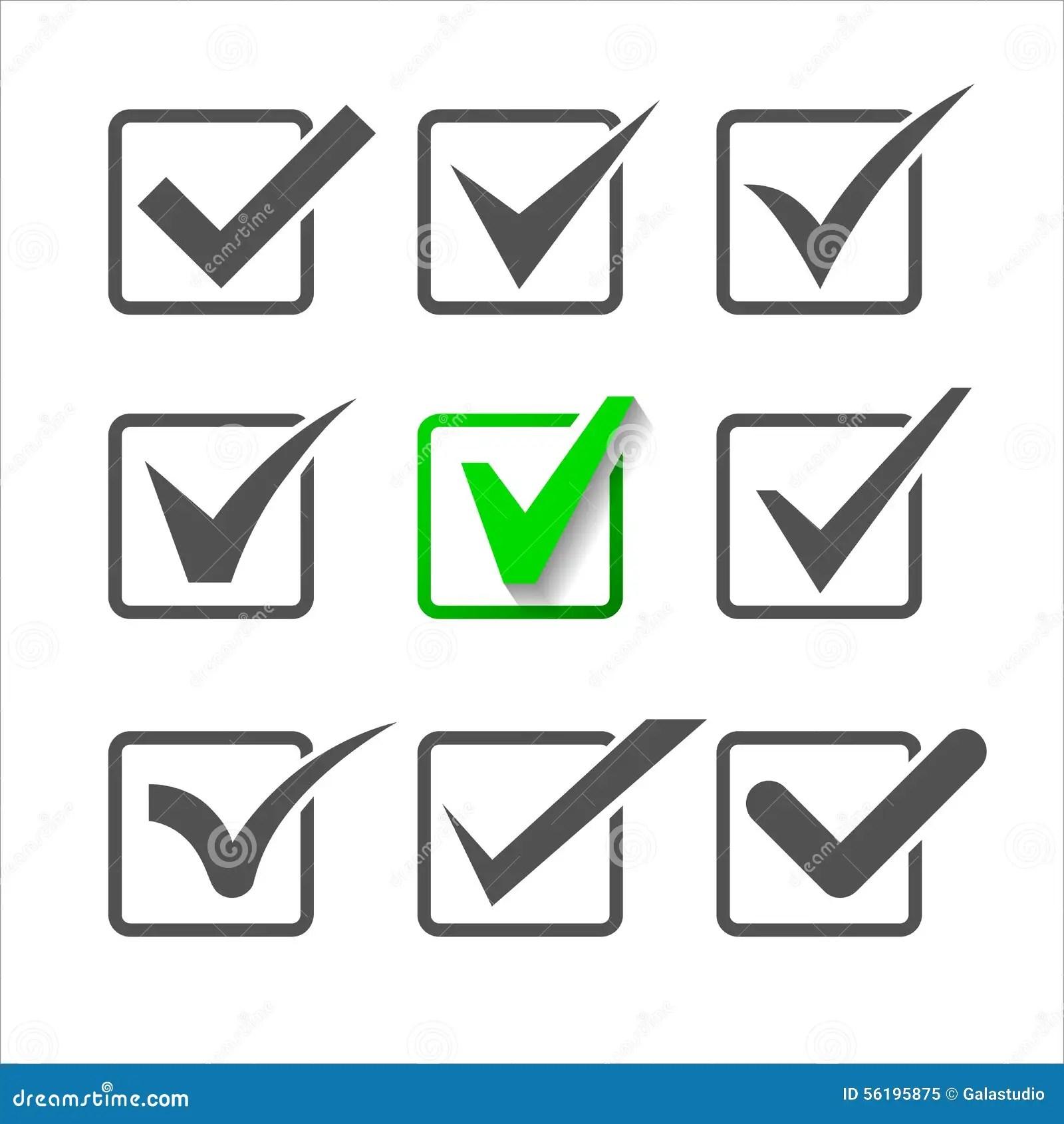 Os ícones Da Validação Ajustaram-se De Nove Marcas De