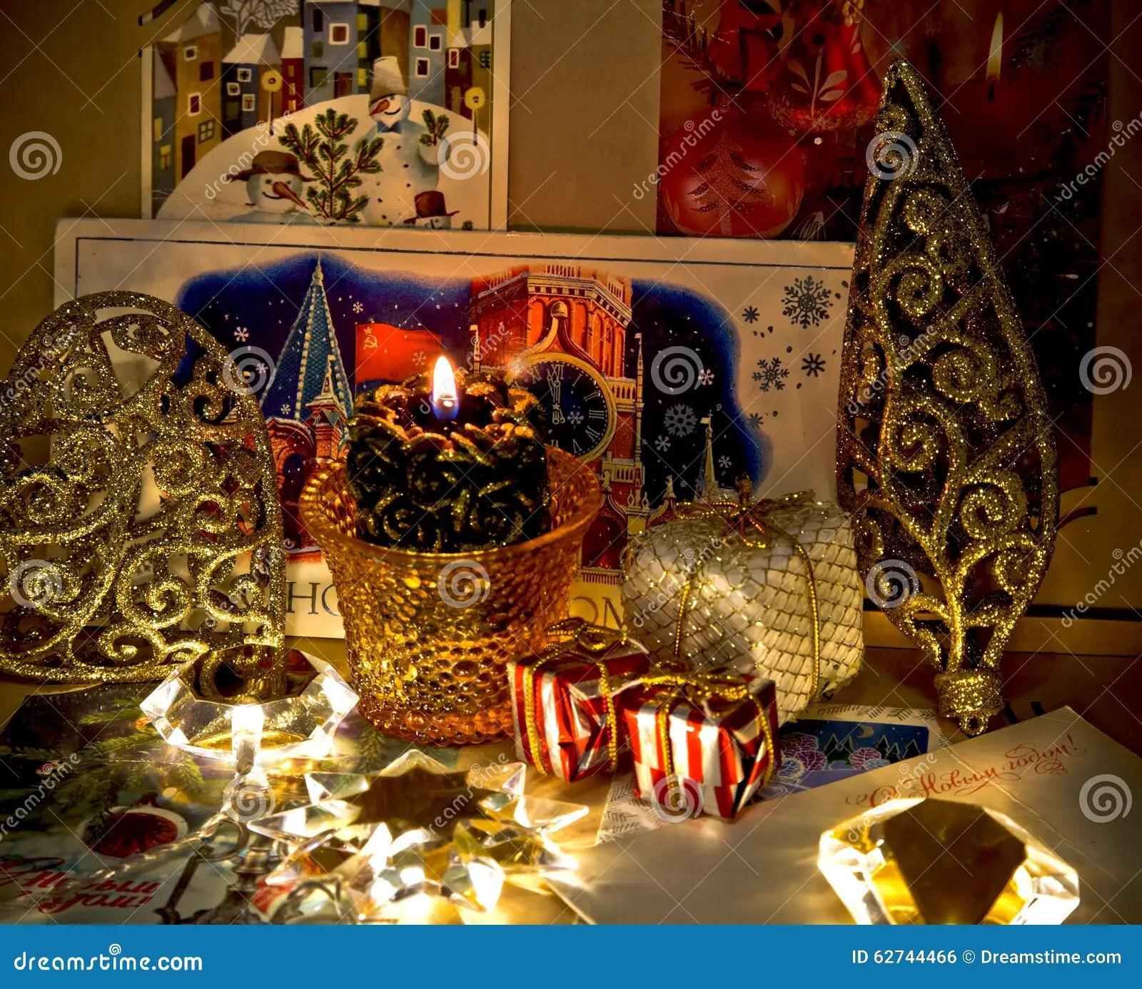 Oude Kerstkaarten In Het Album Stock Foto  Afbeelding