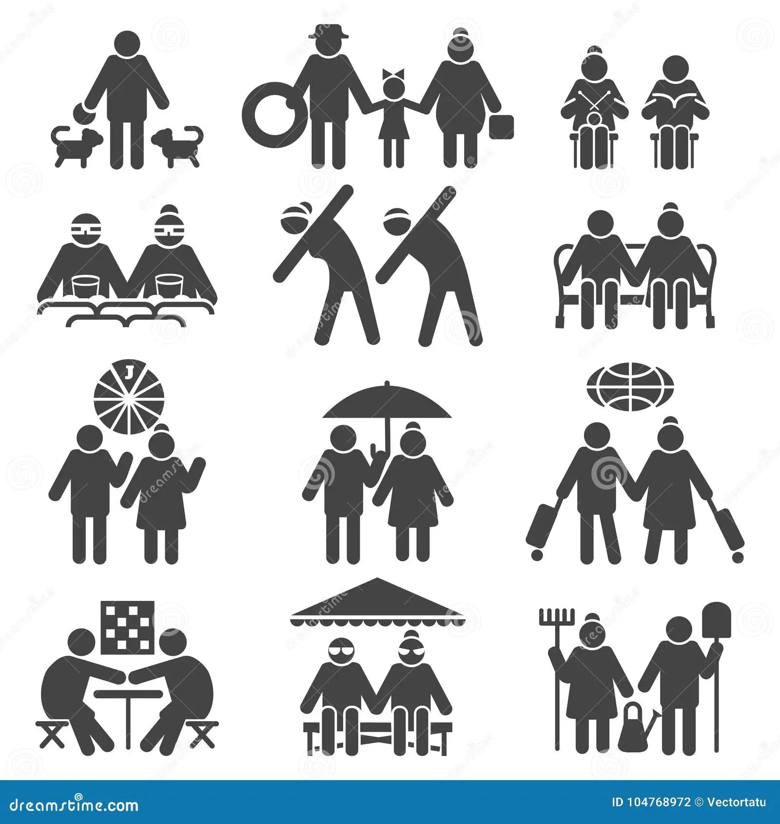 Oude Mensen Actieve Levensstijl Vector Illustratie
