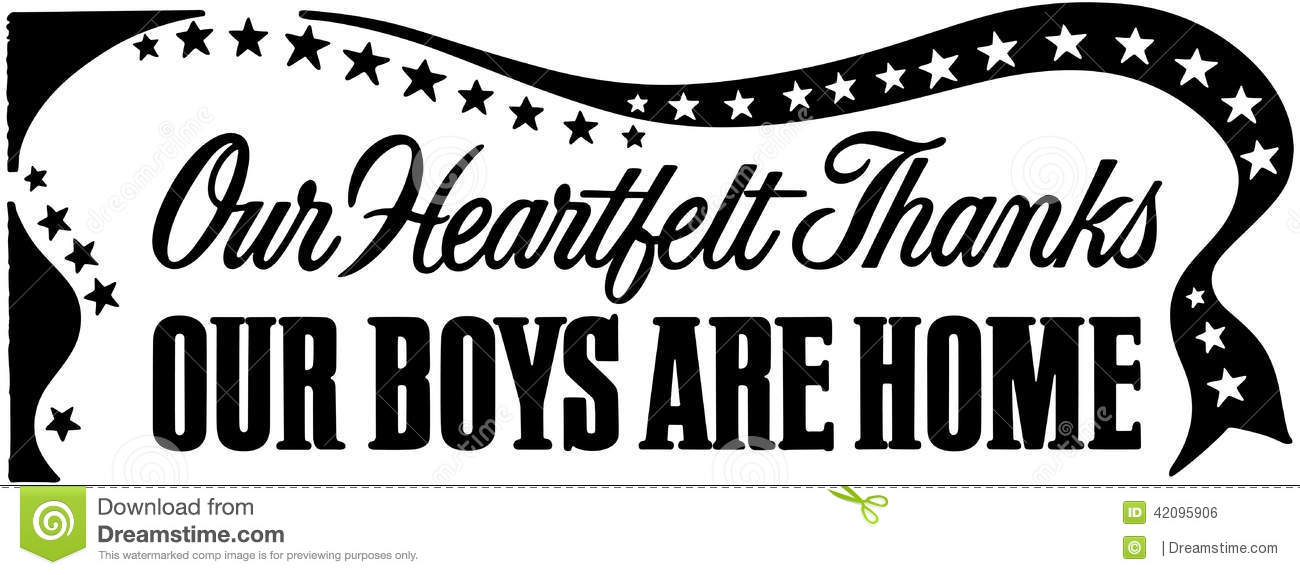 Our Boys Are Home Banner stock vector. Illustration of