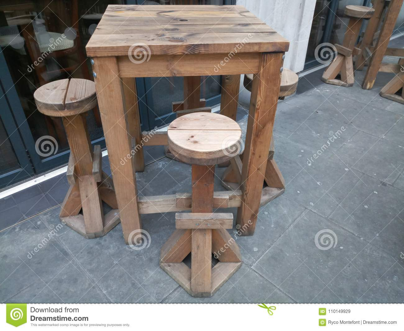 Outdoor Bar Table Stock Image Image Of Wooden Outdoor 110149929