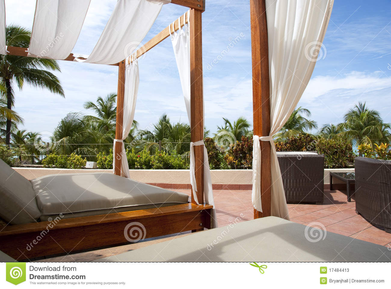 Outdoor Cabana Beds In The Tropics Stock Image  Image of