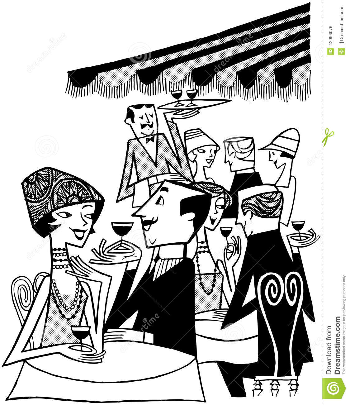 Outdoor Caf_ Scene stock vector. Image of dating, clip